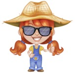 Cute Little Kid with Farm Hat Cartoon Vector Character AKA Mary - Being Cool with Sunglasses