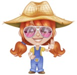 Cute Little Kid with Farm Hat Cartoon Vector Character AKA Mary - Waving with Smile and Glasses