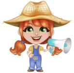Cute Little Kid with Farm Hat Cartoon Vector Character AKA Mary - Holding a Loudspeaker