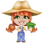 Cute Little Kid with Farm Hat Cartoon Vector Character AKA Mary - Holding Cash Money Banknotes
