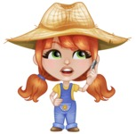 Cute Little Kid with Farm Hat Cartoon Vector Character AKA Mary - Talking on Phone
