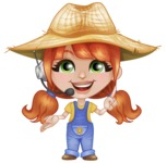 Cute Little Kid with Farm Hat Cartoon Vector Character AKA Mary - Support Service with Headphones