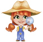 Cute Little Kid with Farm Hat Cartoon Vector Character AKA Mary - Searching