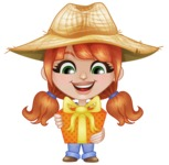 Cute Little Kid with Farm Hat Cartoon Vector Character AKA Mary - Holding a Gift
