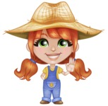 Cute Little Kid with Farm Hat Cartoon Vector Character AKA Mary - Waving with a Hand