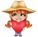 Cute Little Kid with Farm Hat Cartoon Vector Character AKA Mary - Being Romantic and Holding Heart