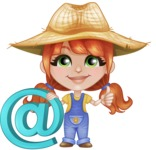 Cute Little Kid with Farm Hat Cartoon Vector Character AKA Mary - With Email Sign for Online Contact