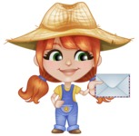 Cute Little Kid with Farm Hat Cartoon Vector Character AKA Mary - With Mail Envelope