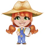 Cute Little Kid with Farm Hat Cartoon Vector Character AKA Mary - With a Notepad