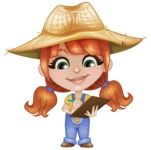 Cute Little Kid with Farm Hat Cartoon Vector Character AKA Mary - Writing on a Notepad