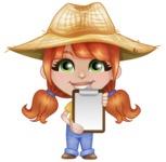Cute Little Kid with Farm Hat Cartoon Vector Character AKA Mary - Explaining with a Blank Notepad