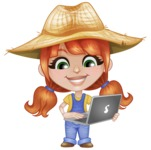 Cute Little Kid with Farm Hat Cartoon Vector Character AKA Mary - Holding a Laptop