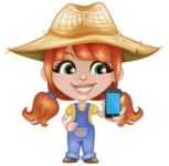 Cute Little Kid with Farm Hat Cartoon Vector Character AKA Mary - Holding a Mobile Phone