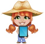 Cute Little Kid with Farm Hat Cartoon Vector Character AKA Mary - Showing a Blank Tablet