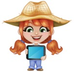 Cute Little Kid with Farm Hat Cartoon Vector Character AKA Mary - Holding Tablet with Blank Screen