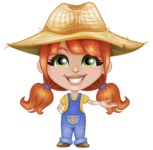 Cute Little Kid with Farm Hat Cartoon Vector Character AKA Mary - Showing with a Hand