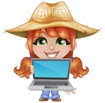 Cute Little Kid with Farm Hat Cartoon Vector Character AKA Mary - Presenting on a Laptop