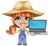 Cute Little Kid with Farm Hat Cartoon Vector Character AKA Mary - With a Computer