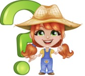 Cute Little Kid with Farm Hat Cartoon Vector Character AKA Mary - With Question Mark