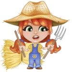 Cute Little Kid with Farm Hat Cartoon Vector Character AKA Mary - With Broken Pick Fork