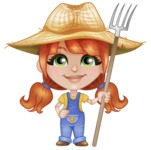 Cute Little Kid with Farm Hat Cartoon Vector Character AKA Mary - Holding Pick Fork