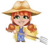 Cute Little Kid with Farm Hat Cartoon Vector Character AKA Mary - Farming with Pick Fork and Hayrick