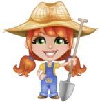 Cute Little Kid with Farm Hat Cartoon Vector Character AKA Mary - Holding Shovel