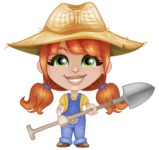 Cute Little Kid with Farm Hat Cartoon Vector Character AKA Mary - Working with Shovel