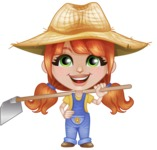 Cute Little Kid with Farm Hat Cartoon Vector Character AKA Mary - Holding Grab Hoe