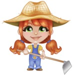 Cute Little Kid with Farm Hat Cartoon Vector Character AKA Mary - Working with Grab Hoe