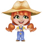 Cute Little Kid with Farm Hat Cartoon Vector Character AKA Mary - Presenting