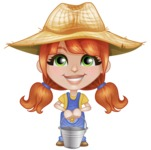 Cute Little Kid with Farm Hat Cartoon Vector Character AKA Mary - Holding Bucket
