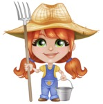 Cute Little Kid with Farm Hat Cartoon Vector Character AKA Mary - With Farming Tools