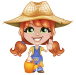 Cute Little Kid with Farm Hat Cartoon Vector Character AKA Mary - Watering Can