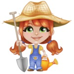 Cute Little Kid with Farm Hat Cartoon Vector Character AKA Mary - Watering