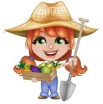 Cute Little Kid with Farm Hat Cartoon Vector Character AKA Mary - With Fresh Garden Vegetables