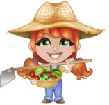 Cute Little Kid with Farm Hat Cartoon Vector Character AKA Mary - With Fresh Vegetables from the Garden