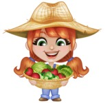 Cute Little Kid with Farm Hat Cartoon Vector Character AKA Mary - With Basket full of Vegetables