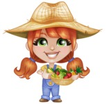 Cute Little Kid with Farm Hat Cartoon Vector Character AKA Mary - Smiling with Farm Vegetables