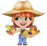 Cute Little Kid with Farm Hat Cartoon Vector Character AKA Mary - Holding Vegetables