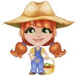 Cute Little Kid with Farm Hat Cartoon Vector Character AKA Mary - With Fresh Garden Fruits