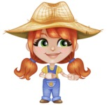 Cute Little Kid with Farm Hat Cartoon Vector Character AKA Mary - Showing and Looking at the Same Direction