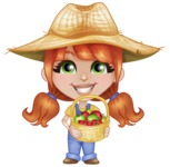 Cute Little Kid with Farm Hat Cartoon Vector Character AKA Mary - With Basket full of Apples and Strawberries
