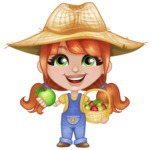 Cute Little Kid with Farm Hat Cartoon Vector Character AKA Mary - With Green and Red Apples