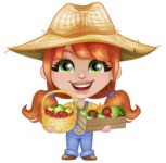 Cute Little Kid with Farm Hat Cartoon Vector Character AKA Mary - With Farm Vegetables and Fruits