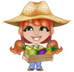 Cute Little Kid with Farm Hat Cartoon Vector Character AKA Mary - With Fresh Groceries