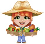 Cute Little Kid with Farm Hat Cartoon Vector Character AKA Mary - Holding Baskets with Vegetables