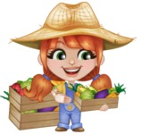 Cute Little Kid with Farm Hat Cartoon Vector Character AKA Mary - Picking Homemade Vegetables