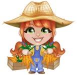 Cute Little Kid with Farm Hat Cartoon Vector Character AKA Mary - With Fresh Garden Carrots