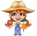 Cute Little Kid with Farm Hat Cartoon Vector Character AKA Mary - Picking Carrots